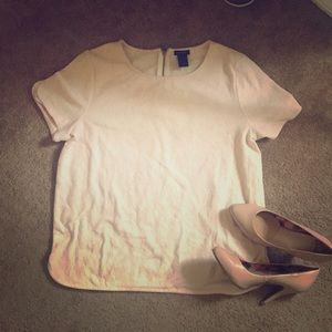 Pink and white ann taylor top short sleeve large